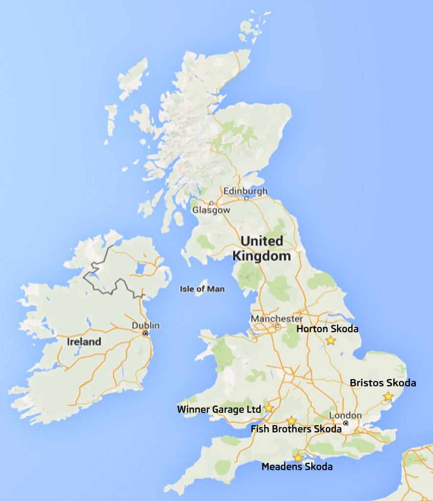 UK MAP with skoda dealers